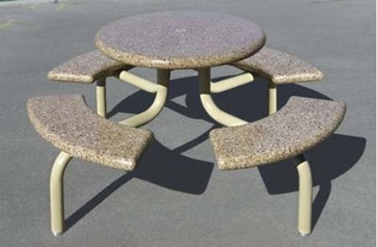 Picture of Concrete Round Picnic Table - Metal Frame - Portable