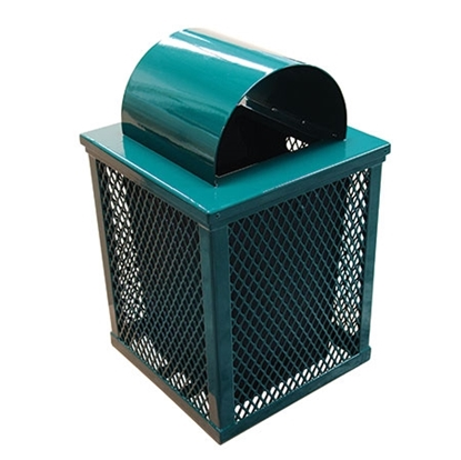 32 Gallon Square Trash Can - Plastic Coated Expanded Metal