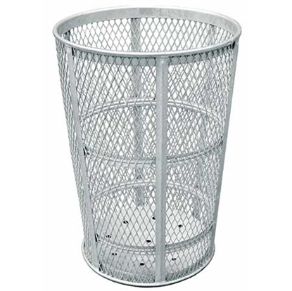 Tapered Round Trash Receptacle 45 Gallon Galvanized Expanded Steel