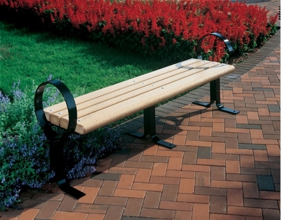 Picture of 8 Ft. Recycled Plastic Flat Hoop Bench without Back - Steel Frame - Surface Mount