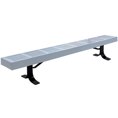 Picture of 6 ft. Slatted Park Bench without Back - Plastic Coated Steel - Portable