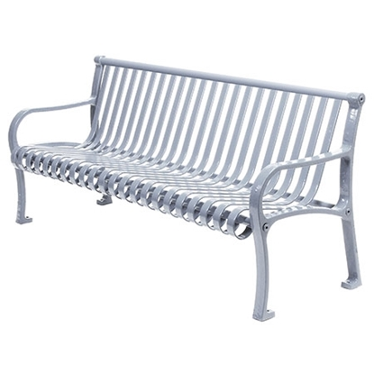Picture of 6 ft. Contour Bench with Back and Arms - Plastic Coated Metal