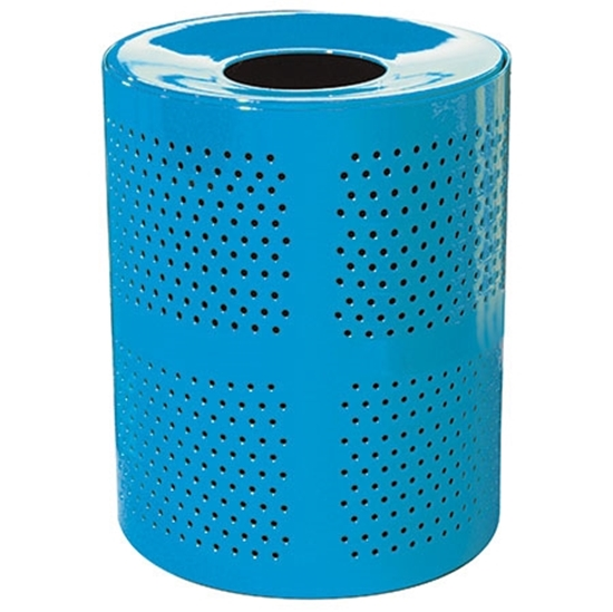 Picture of 32 Gallon Round Perforated Trash Receptacle - Plastic Coated Perforated Metal