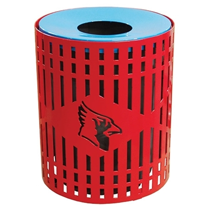 32 Gallon Round Custom Logo Trash Receptacle - Diamond Pattern