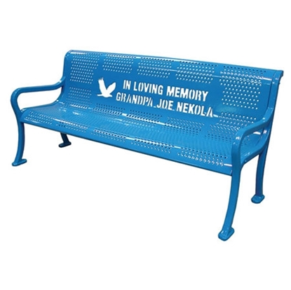 Picture of 8 Ft. Custom Logo Contour Bench - Thermoplastic Coated Steel - Perforated - Portable or Surface Mount