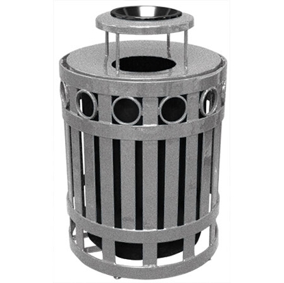 Picture of 32 Gallon Ring Style Trash Can with Ash Top - Plastic Coated Steel - Portable