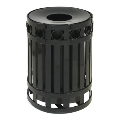 Round Ring Style Trash Receptacle with Spun Metal