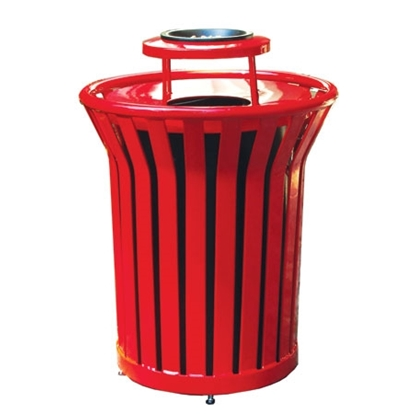 Picture of 32 Gallon Round Trash Can with Ash Top - Plastic Coated Welded Steel - Portable