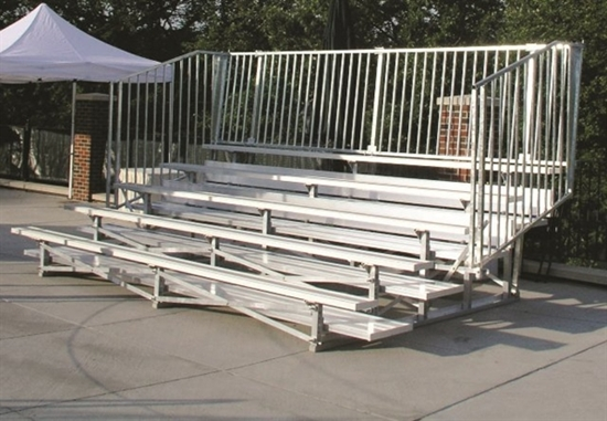 Picture of 27 ft. Low Rise 5 Row Bleachers with Guardrails - All Aluminum