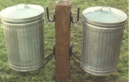 Picture of Double Side Can Post - Wooden - In-Ground Mount