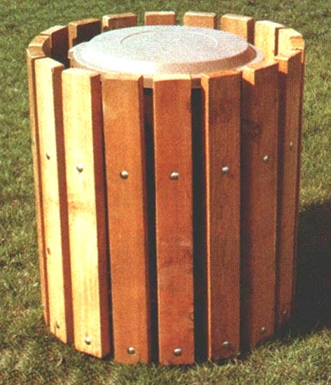 32 Gallon Trash Can Southern Yellow Pine Receptacle