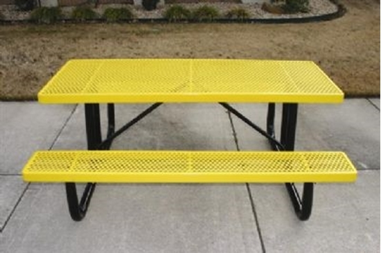 Ft Thermoplastic Steel Picnic Table Perforated Style Portable - Picnic table seats 8