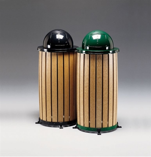 Round 18 Inch Recycled Plastic Trash Can With Dome Top And