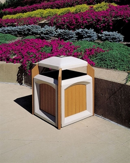 Picture of 60 Gallon Trash Can - Recycled Plastic with Liner - Portable