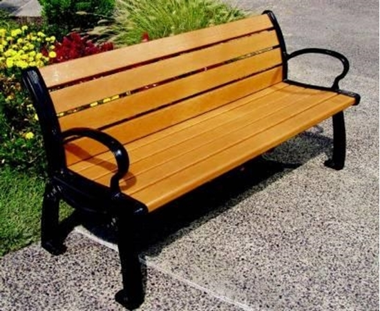 Picture of 6 Ft. Recycled Plastic Bench with Back - Powder Coated Aluminum - Surface Mount - Portable