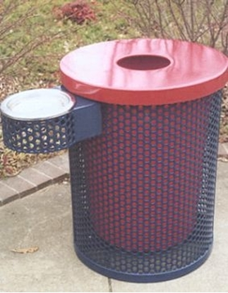 Picture of 32 Gallon Plastic Coated Perforated Steel Trash Can with Ash Tray
