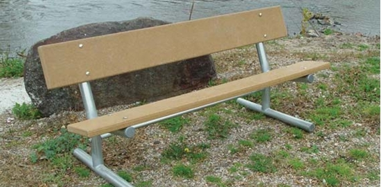 Picture of 6 Ft. Recycled Plastic Bench with Back - Galvanized Tube - Portable