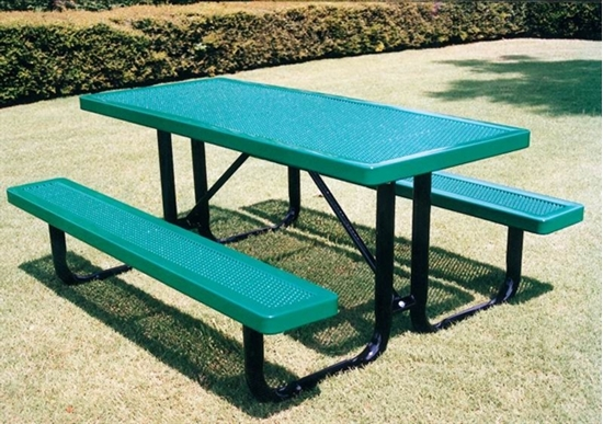 Picture of 8 Ft. Rectangular Thermoplastic Steel Picnic Table - Innovated Style - Portable