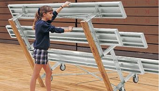 Picture of 7.5 ft. Tip and Roll 3 Row Bleachers - All Aluminum - Portable