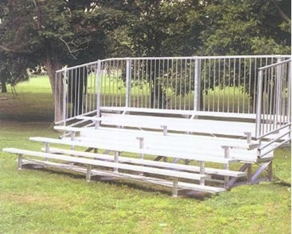 Picture of 15 ft. 4 Row Bleachers with Guardrails - All Aluminum - Portable
