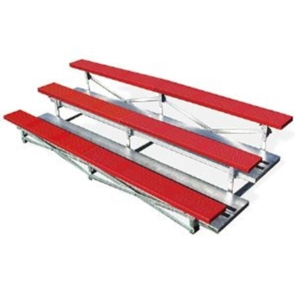 Picture of 15 ft. 3 Row Bleachers - Plastisol Seats with Galvanized Frame - Portable