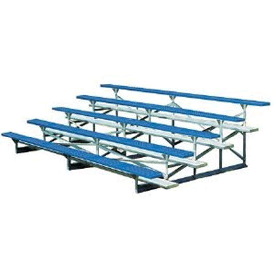 15 ft. 5 Row Bleachers - Plastisol Steel Seats with Galvanized Frame