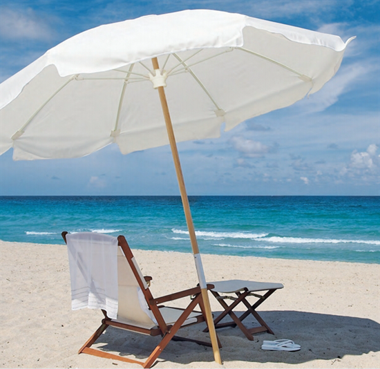 Picture of 7.5 ft. Octagonal Beach Umbrella - Two Piece Solid Wood Pole - Marine Grade Fabric