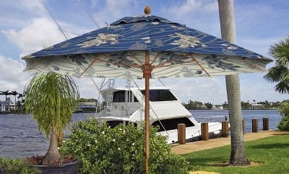 Picture of Guy Harvey 11 ft. Octagonal Market Umbrella - Augusta Style - Simulated Wood Pole - Acrylic Fabric