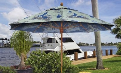 Picture of Guy Harvey 9 ft. Octagonal Market Umbrella - Augusta Style - Simulated Wood Pole - Acrylic Fabric