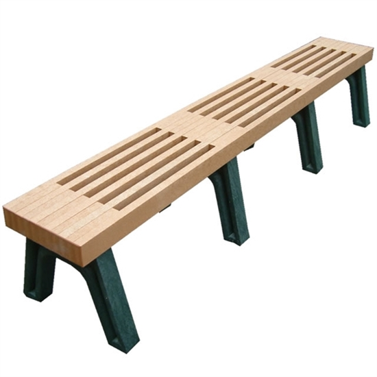 Picture of 8 Ft. Recycled Plastic Slatted Bench without Back - Portable