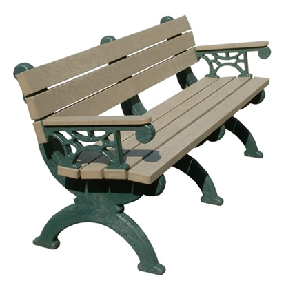 Picture of 6 Ft. Recycled Plastic Bench with Back - Attached Arms - Portable