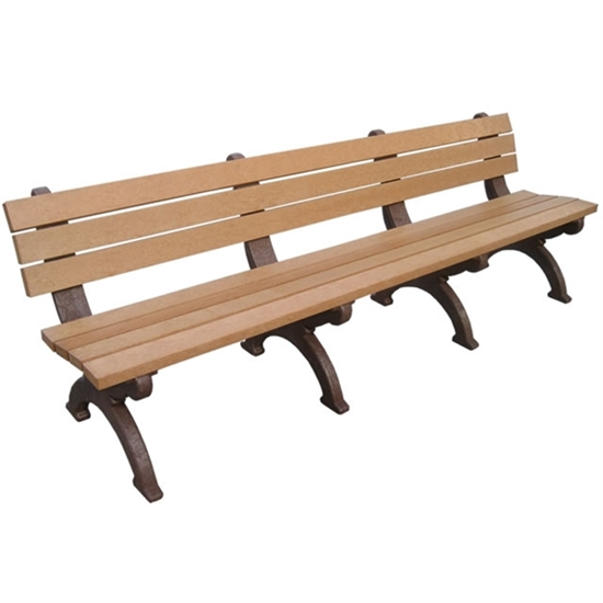 Picture of 8 Ft. Recycled Plastic Bench with Back - Monarque Style - Portable