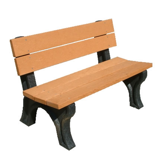 Picture of 4 Ft. Recycled Plastic Bench with Back - 2 x 4 In. Slats - Portable