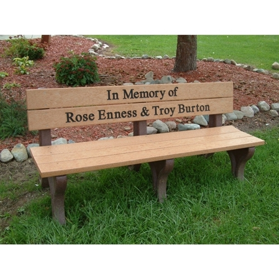 Picture of 6 Ft. Recycled Plastic Custom Memorial Logo Bench with Back - Portable