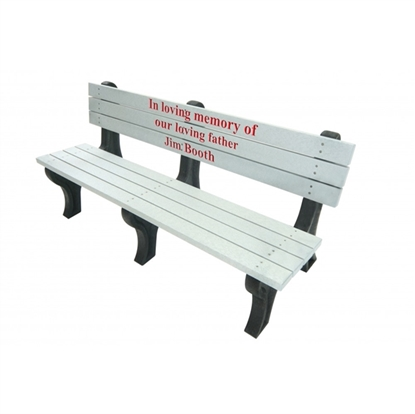 Picture of 6 Ft. Recycled Plastic Custom Memorial Logo Bench with Back - Deluxe Style - Portable