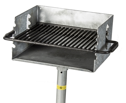 Picture of Flip Grate Park Grill - 300 sq. inch Cooking Surface - Galvanized Steel - Inground Mount