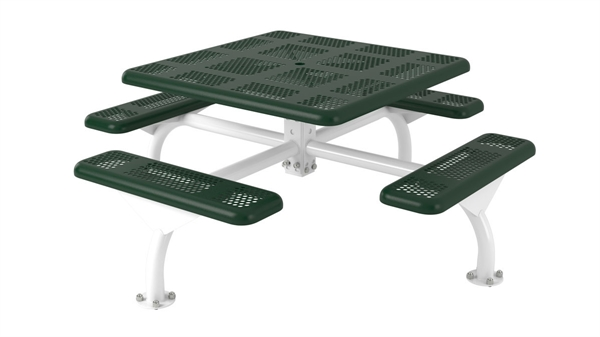 Square Picnic Table Thermoplastic Perforated Metal Portable By - Picnic table seats 8