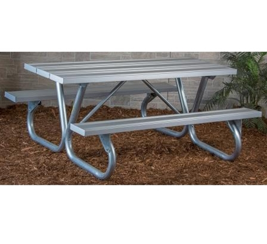 "Picture of 6 Ft. Rectangular Aluminum Picnic Table - 2 3/8"" Bolted Frame - Portable"