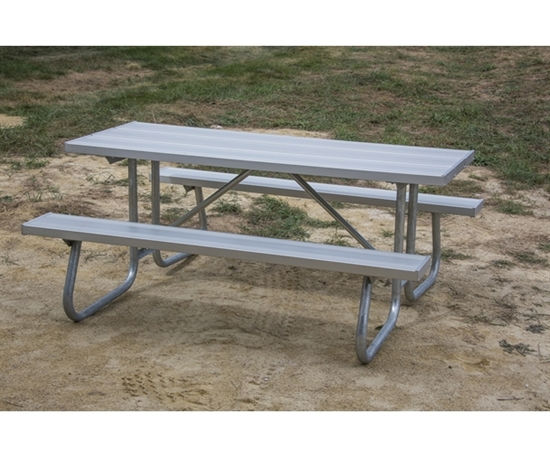 Picture of 8 ft Rectangular Aluminum Picnic Table - Bolted Steel Frame - Portable