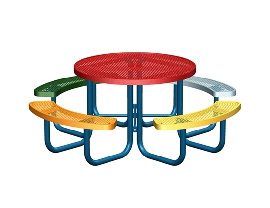 Picture of Multi-Color Round Thermoplastic Steel Picnic Table - Regal Style - Portable