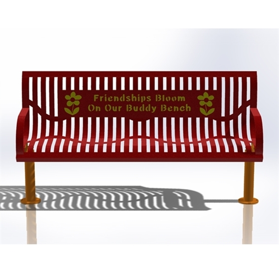 Picture of 6 Ft. Buddy Bench  - Wingline Ribbed Steel