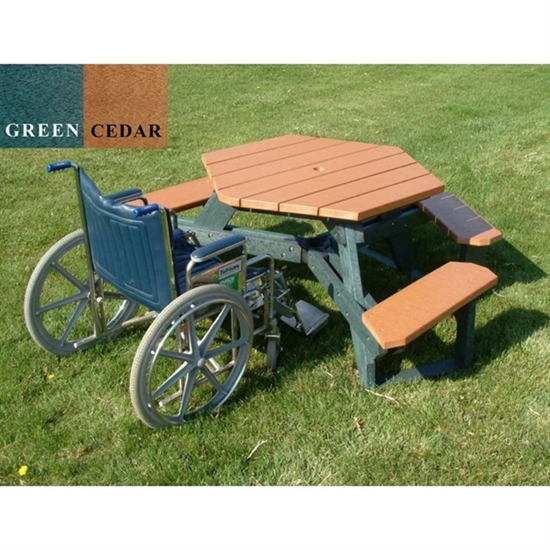 ADA Wheelchair Accessible Round Recycled Plastic Picnic Table - Recycled plastic round picnic table
