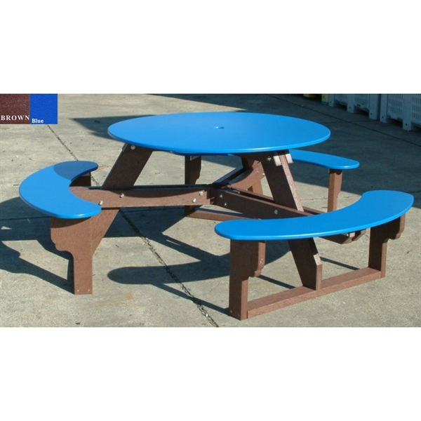 Recycled plastic round picnic table three attached benches picture of recycled plastic round picnic table three attached benches portable watchthetrailerfo
