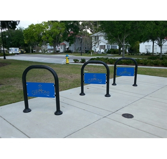 Picture of Custom Logo Single Loop Bike Rack Plastic Coated - Surface Mount