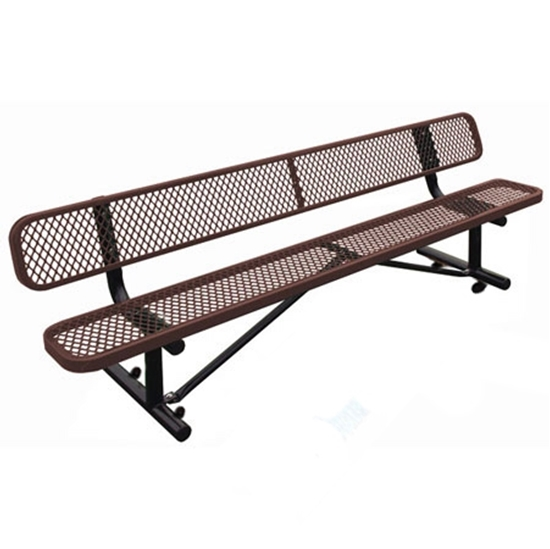 6 Ft Park Bench With Back Plastic Coated Perforated Steel Portable By Park Tables
