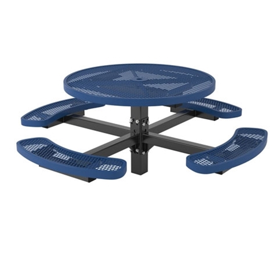 Picture of Round Thermoplastic Steel Picnic Table - Regal Style - Pedestal Inground Mount