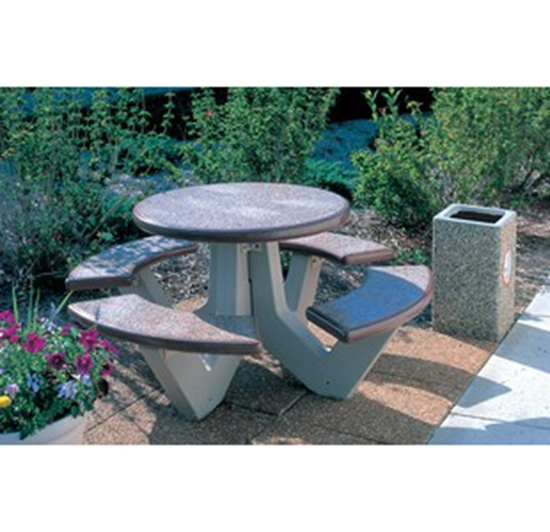 Picture Of Round Commercial Concrete Picnic Table   Portable