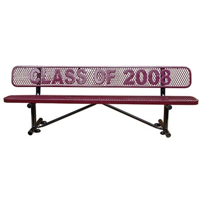 4 Ft. Logo Memorial Bench - Plastic Coated Expanded Metal