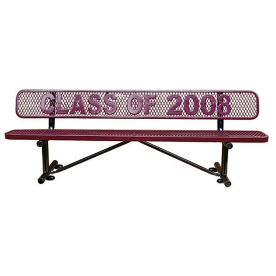 Picture of 4 Ft. Logo Memorial Bench - Plastic Coated Expanded Metal - Portable