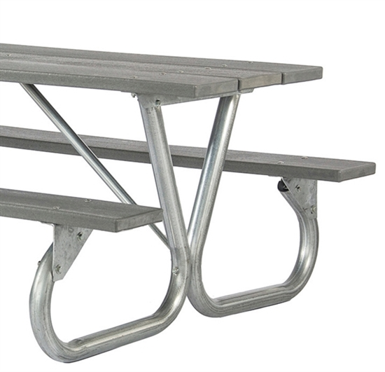 "Picture of Frame Kit for 6 ft or 8 ft Picnic Table - Bolted 2 3/8"" Galvanized Steel - Portable"